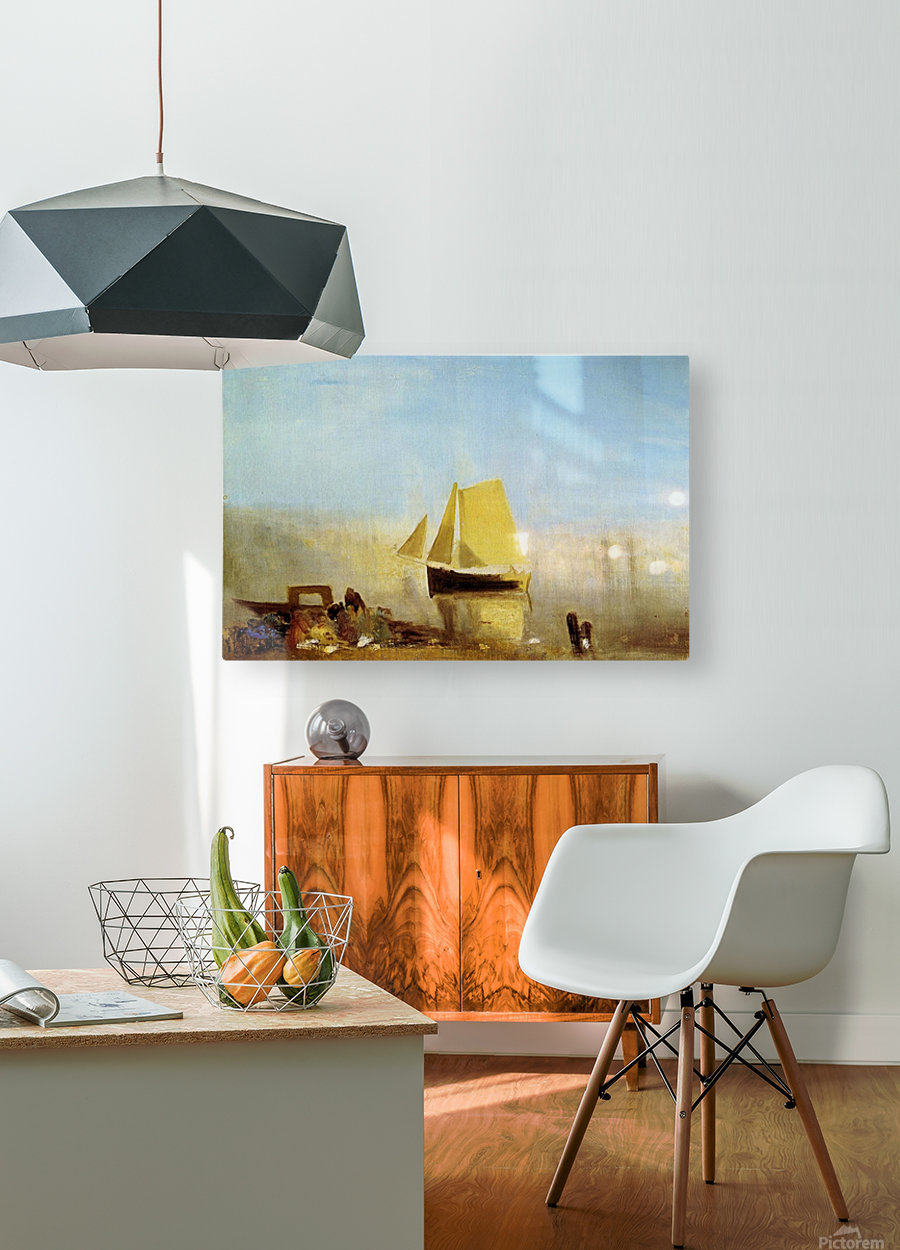 Fishing boat in a mist by Joseph Mallord Turner  HD Metal print with Floating Frame on Back