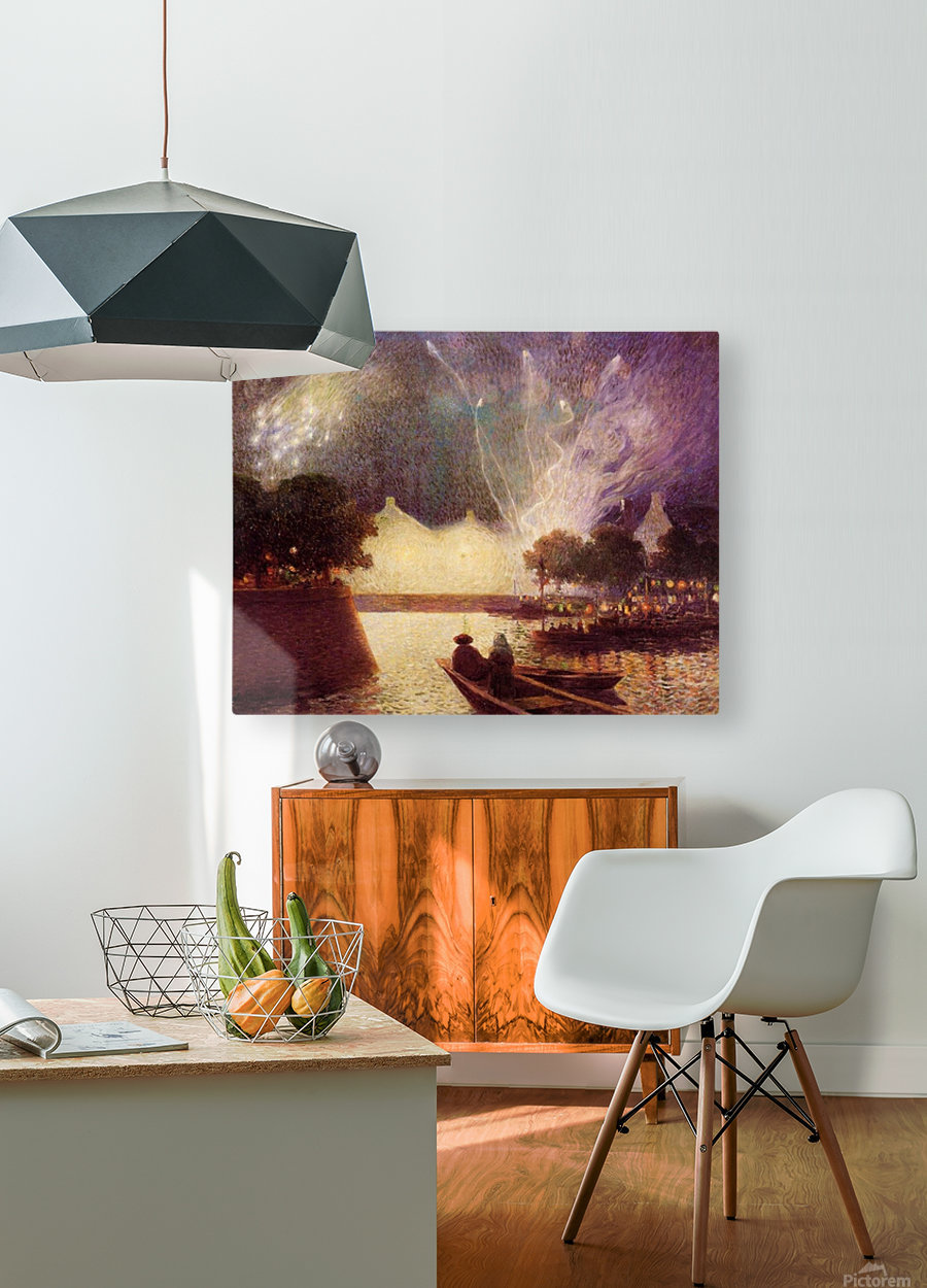 Clear Moon above the Baks of the Loire  HD Metal print with Floating Frame on Back