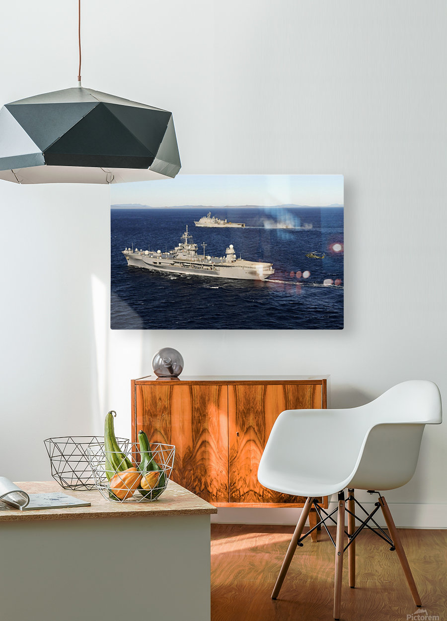 USS Blue Ridge conducts flight operations in the Coral Sea while underway with  USS Germantown.  HD Metal print with Floating Frame on Back