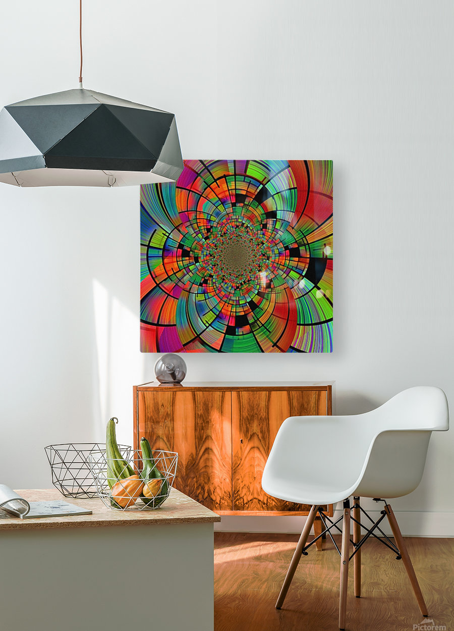 Colorful Geometric Fractal  HD Metal print with Floating Frame on Back