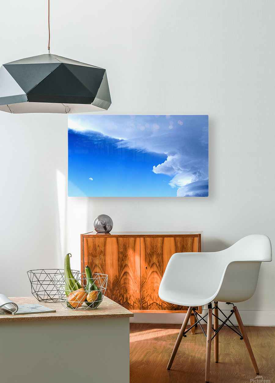 partly cloudy moon  HD Metal print with Floating Frame on Back