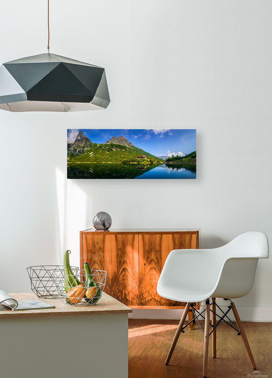 Mountain cottage at the Zelene pleso  HD Metal print with Floating Frame on Back