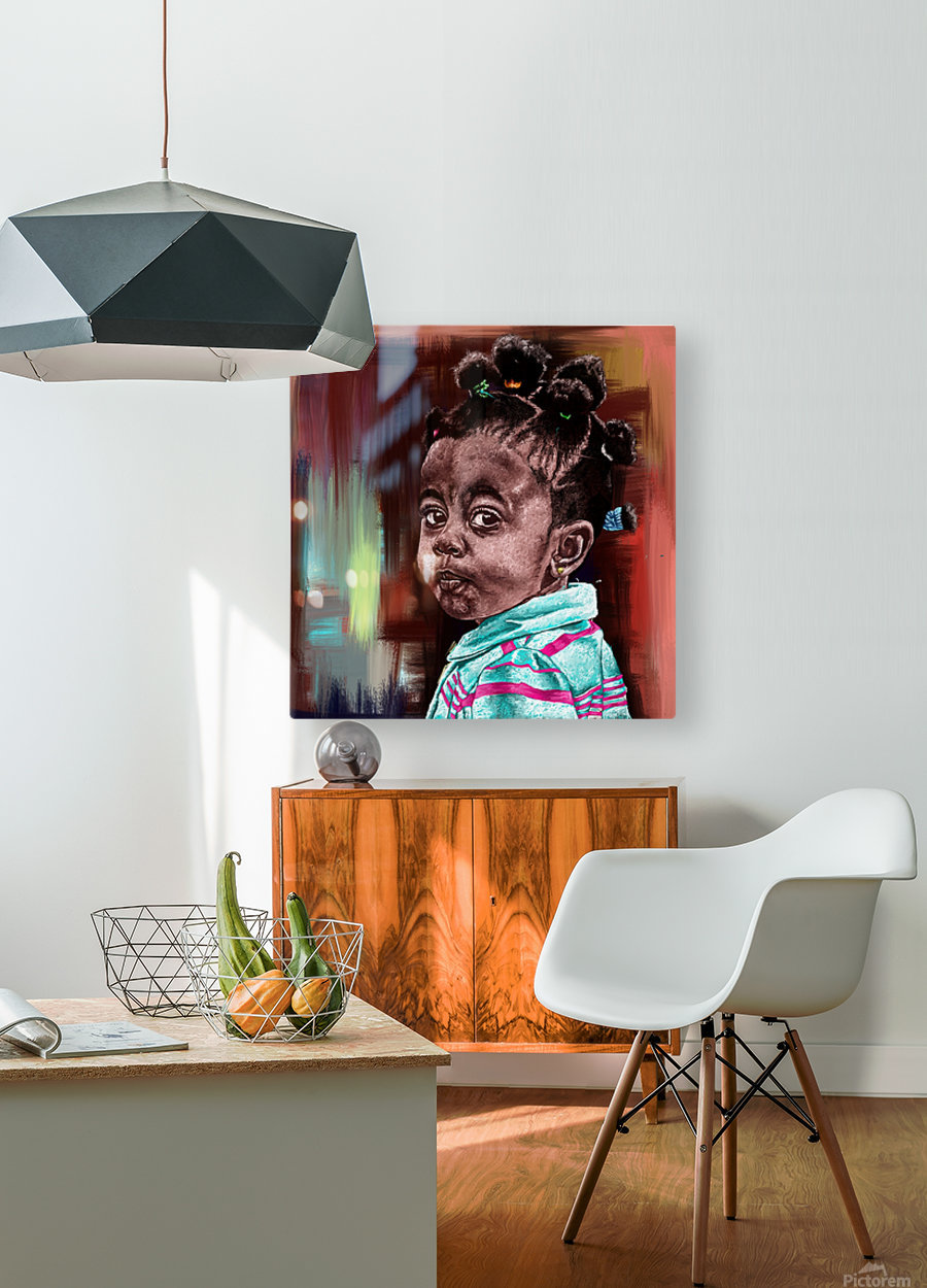 child   HD Metal print with Floating Frame on Back