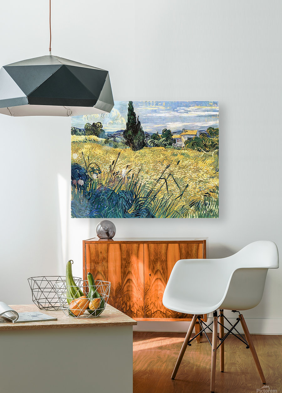 Green wheat field with cypress by Van Gogh  HD Metal print with Floating Frame on Back