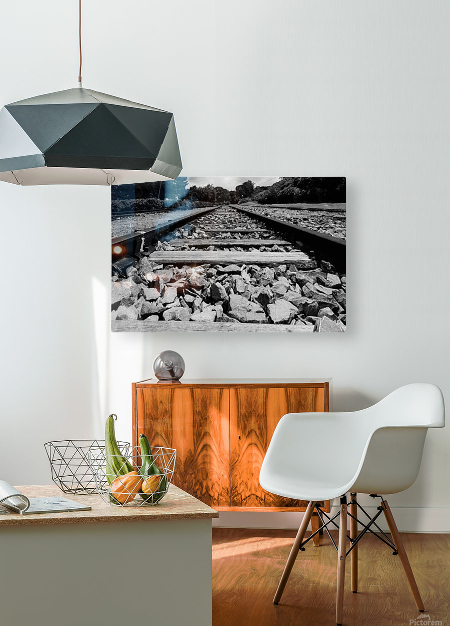 Rails to the future  HD Metal print with Floating Frame on Back