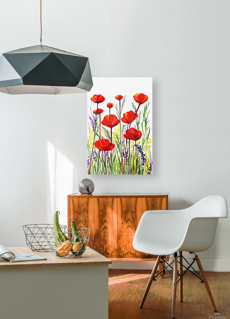 Red Poppies And Lavender Field Watercolor  HD Metal print with Floating Frame on Back