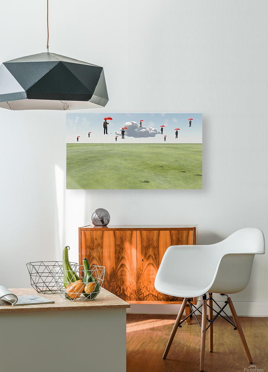 Surreal Floating Men  HD Metal print with Floating Frame on Back