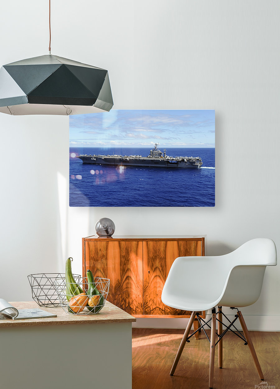 The aircraft carrier USS Abraham Lincoln transits across the Pacific Ocean.  HD Metal print with Floating Frame on Back