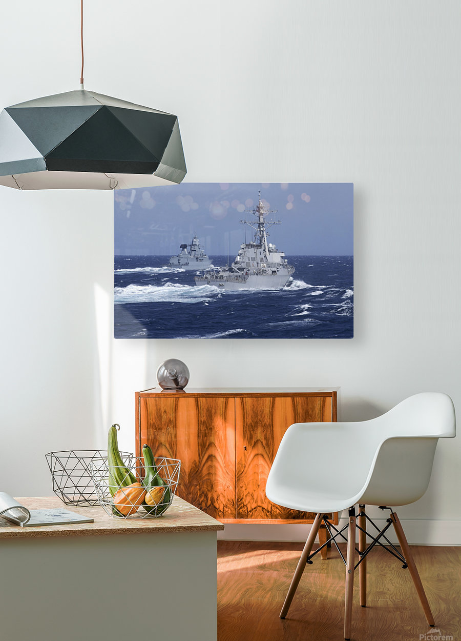 USS Carney practices diversion tactics with the German frigate Sachsen.  HD Metal print with Floating Frame on Back