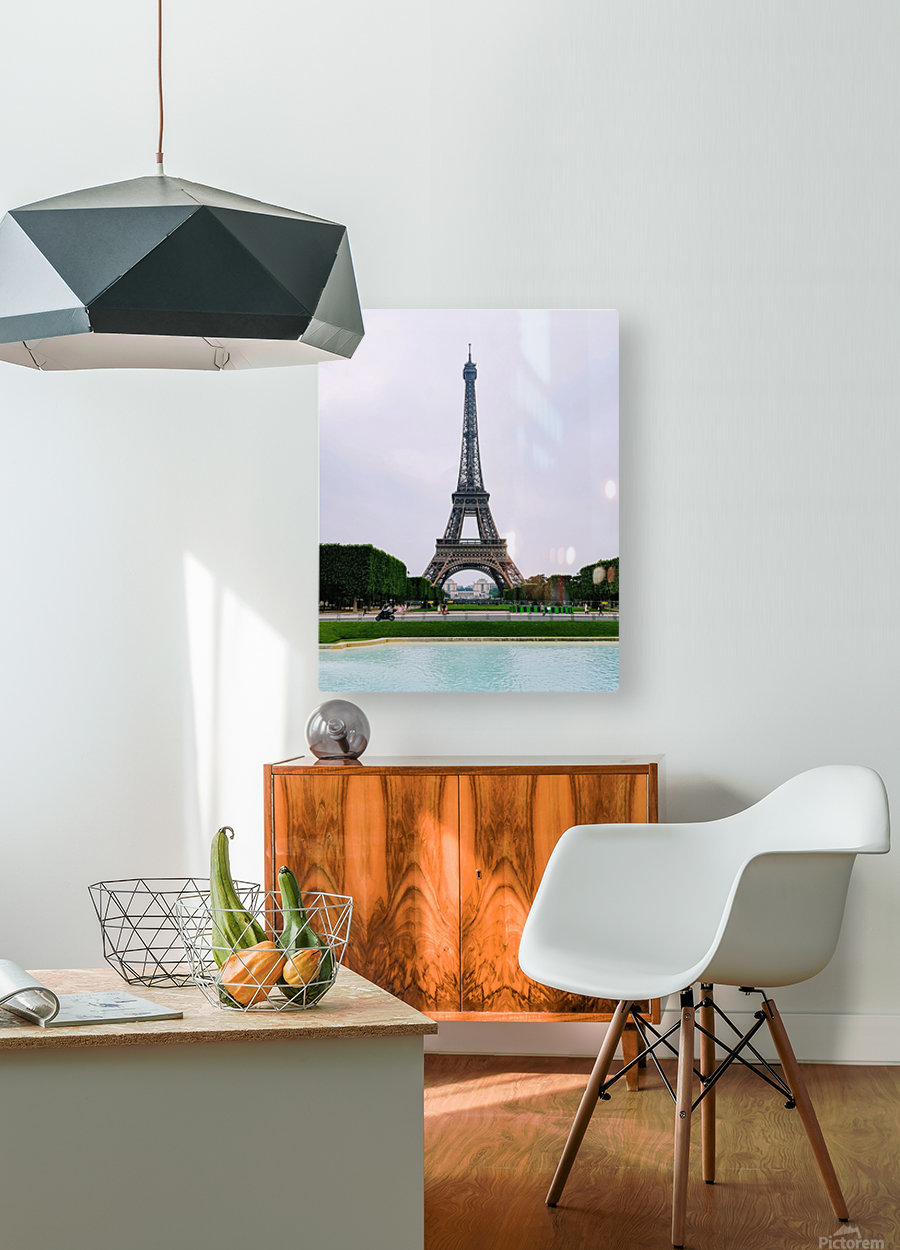 Eiffel from a distance  HD Metal print with Floating Frame on Back