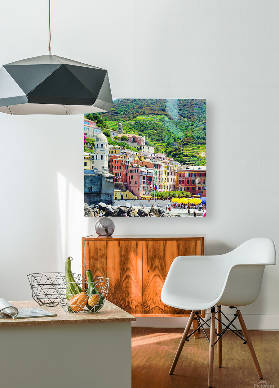 Colorful village of Cinque Terre  HD Metal print with Floating Frame on Back
