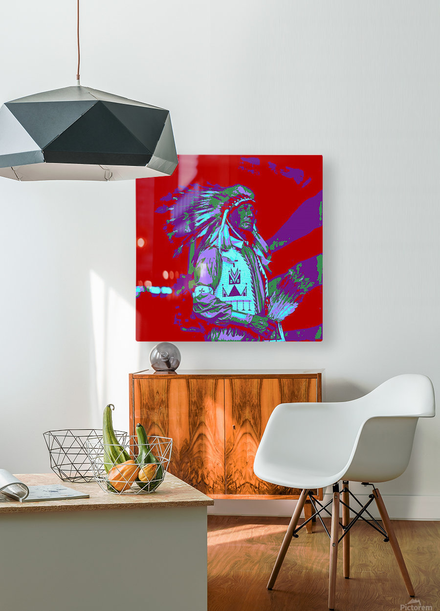 Indian Chief Pop Art  HD Metal print with Floating Frame on Back