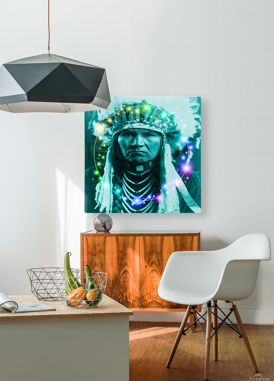Magical Indian Chief  HD Metal print with Floating Frame on Back
