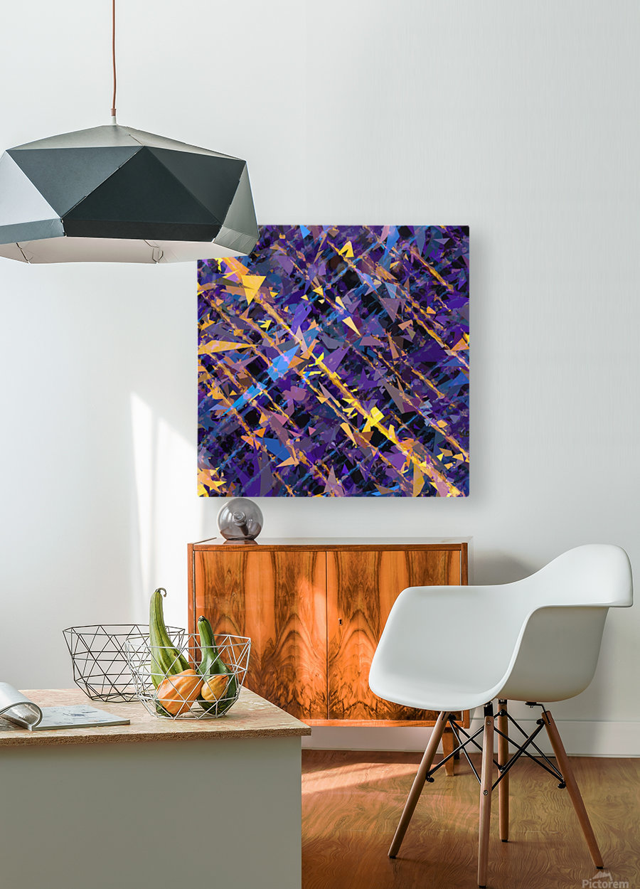 splash geometric triangle pattern abstract background in blue purple yellow  HD Metal print with Floating Frame on Back