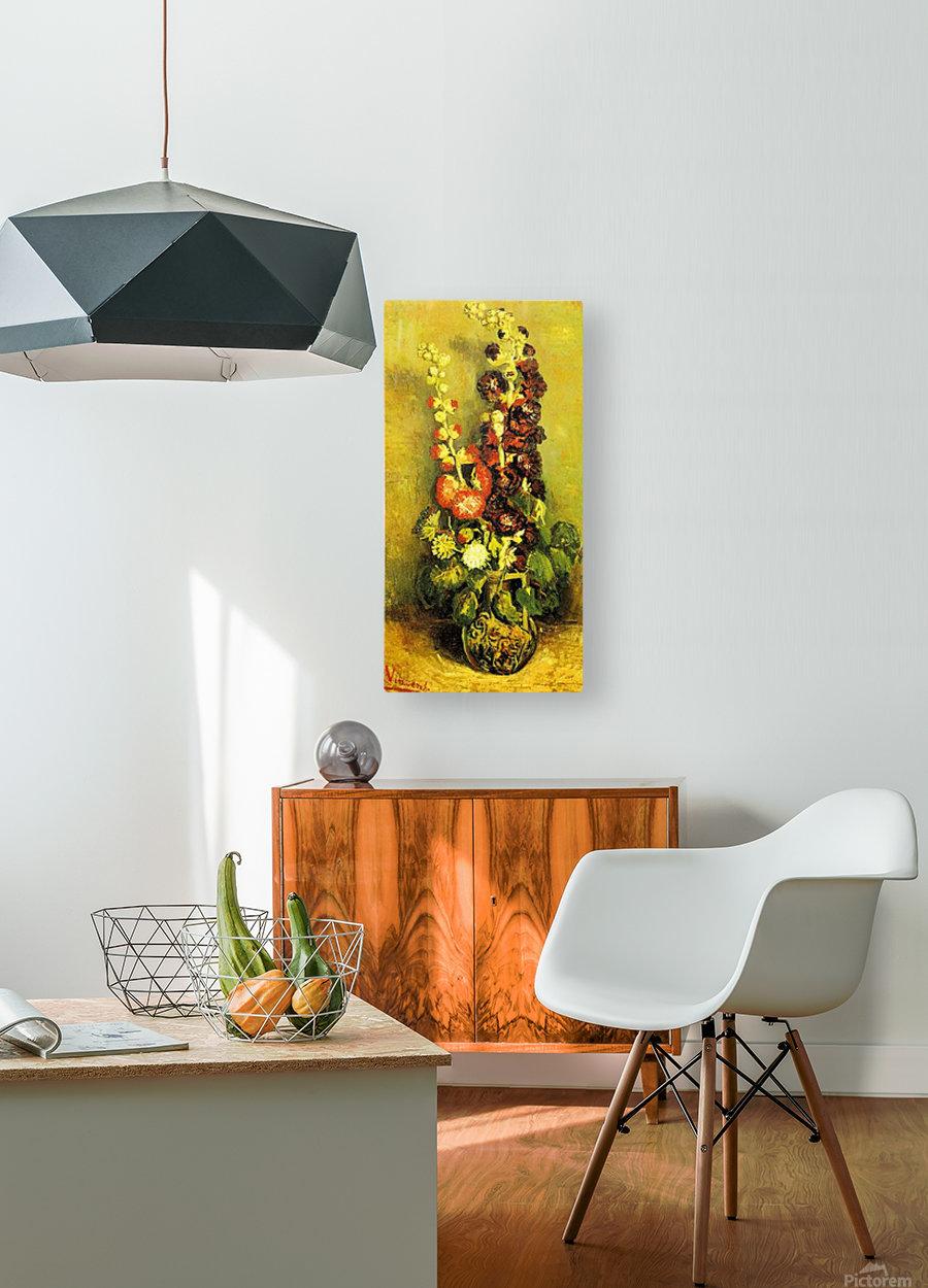 Hollyhocks by Van Gogh  HD Metal print with Floating Frame on Back