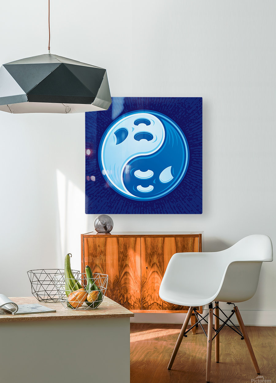 Ghost Yin Yang Symbol  HD Metal print with Floating Frame on Back