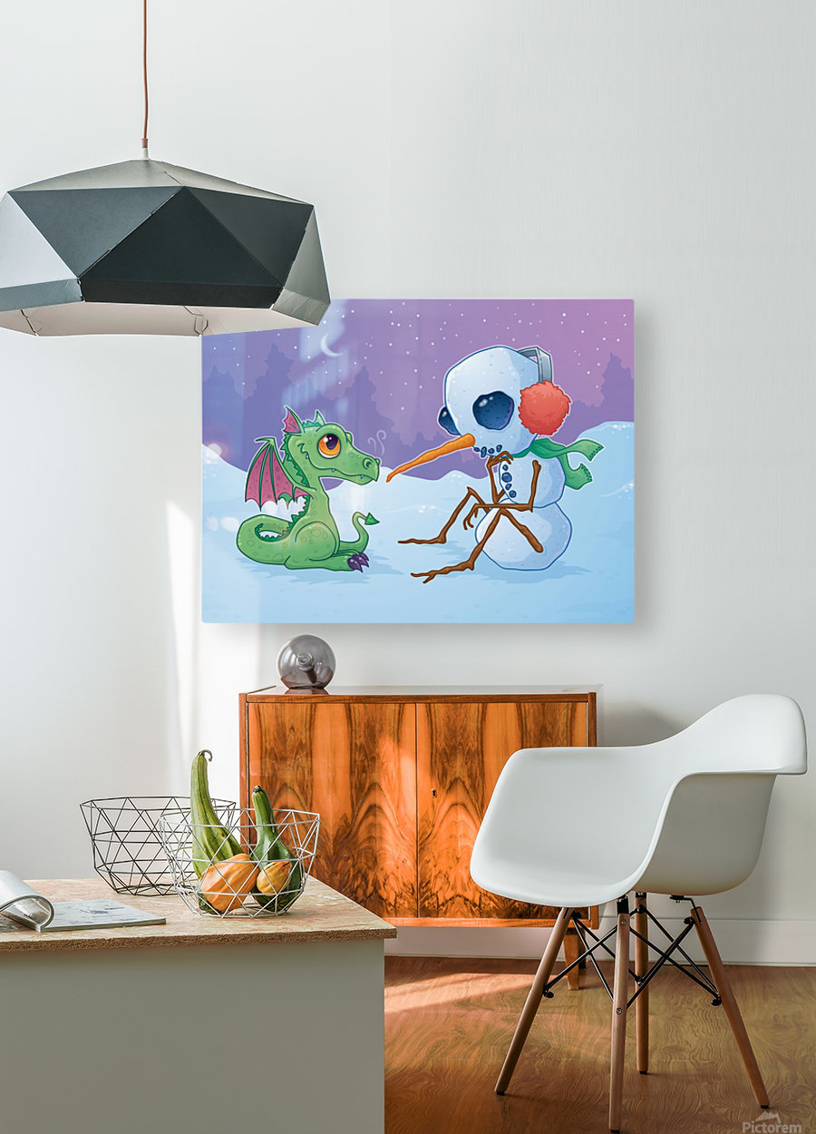 Snowman and Dragon  HD Metal print with Floating Frame on Back