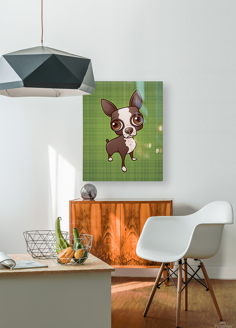 Zippy the Boston Terrier  HD Metal print with Floating Frame on Back