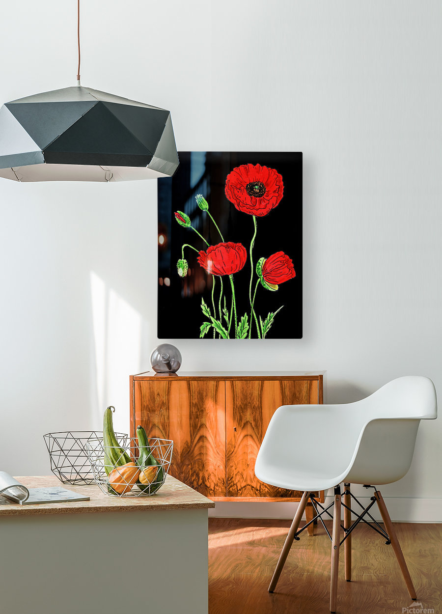 Red Poppy Flowers Watercolor  HD Metal print with Floating Frame on Back
