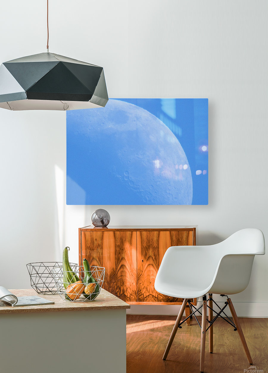 Daytime Moon  HD Metal print with Floating Frame on Back