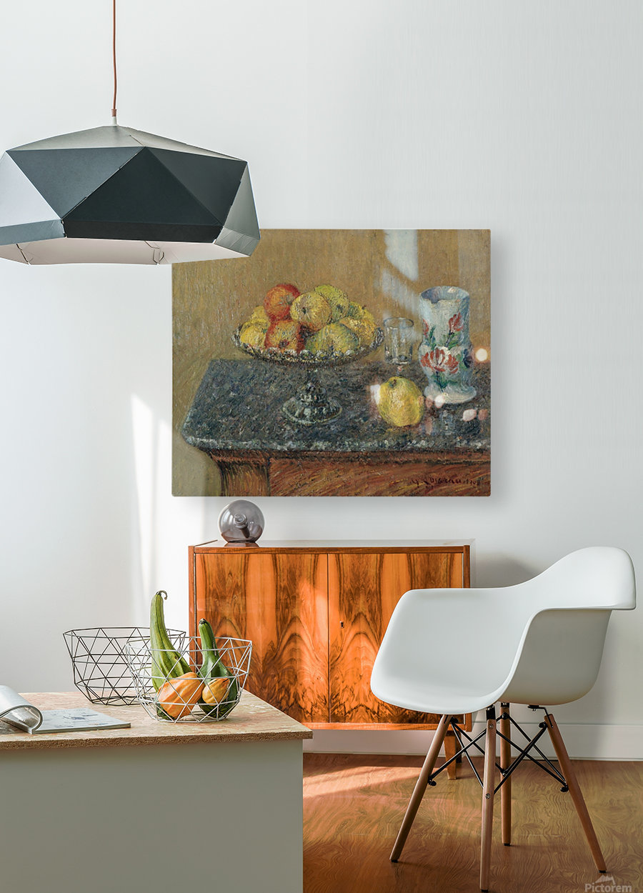 Fruit Bowl with Apples and a Jug  HD Metal print with Floating Frame on Back