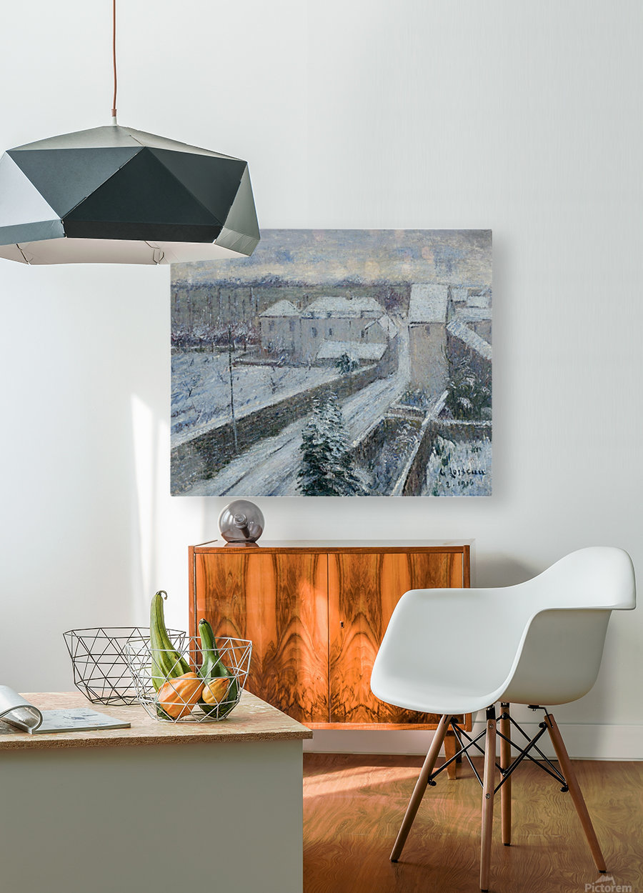 View of Triel under the Snow  HD Metal print with Floating Frame on Back