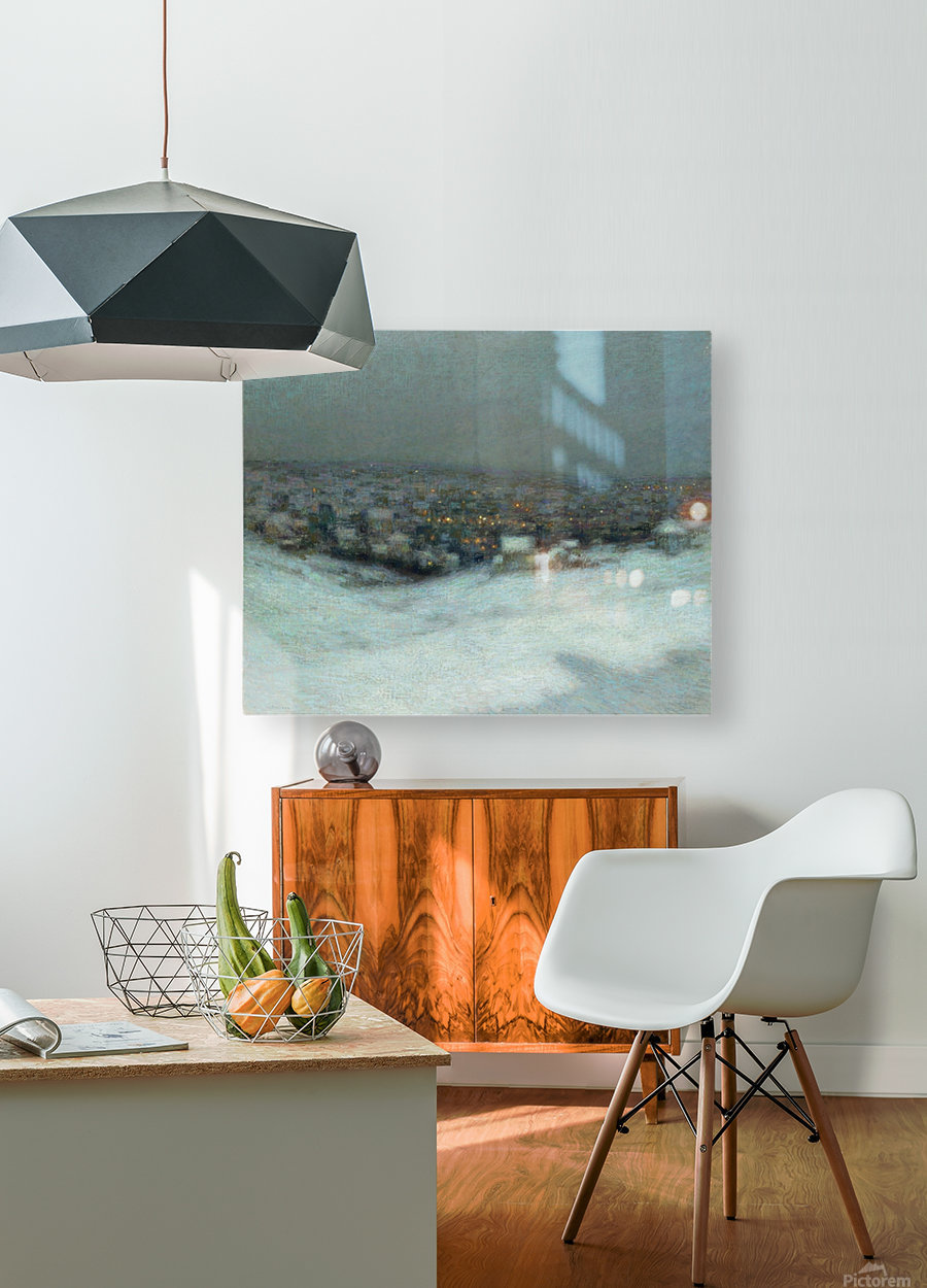 Snow under the Moon  HD Metal print with Floating Frame on Back