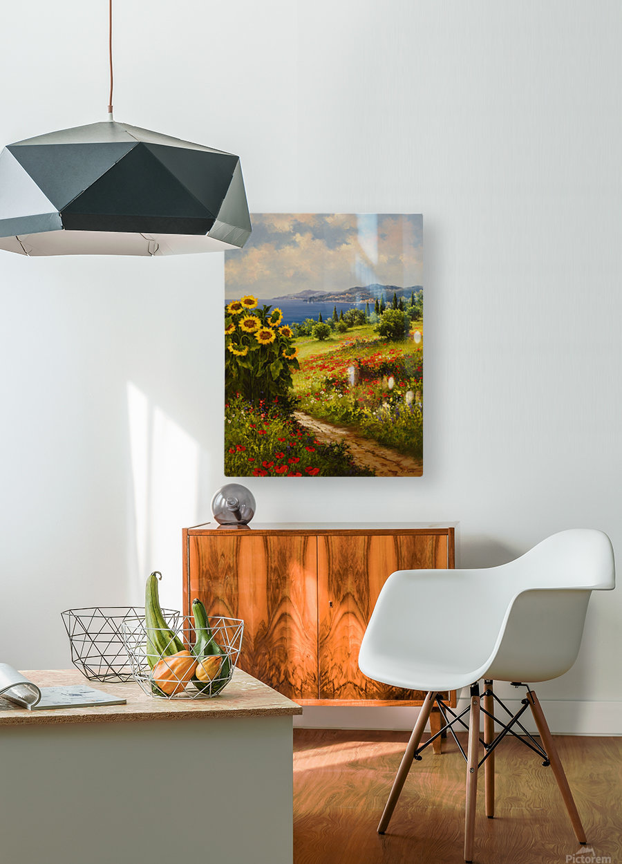 The Sunflower Grove  HD Metal print with Floating Frame on Back