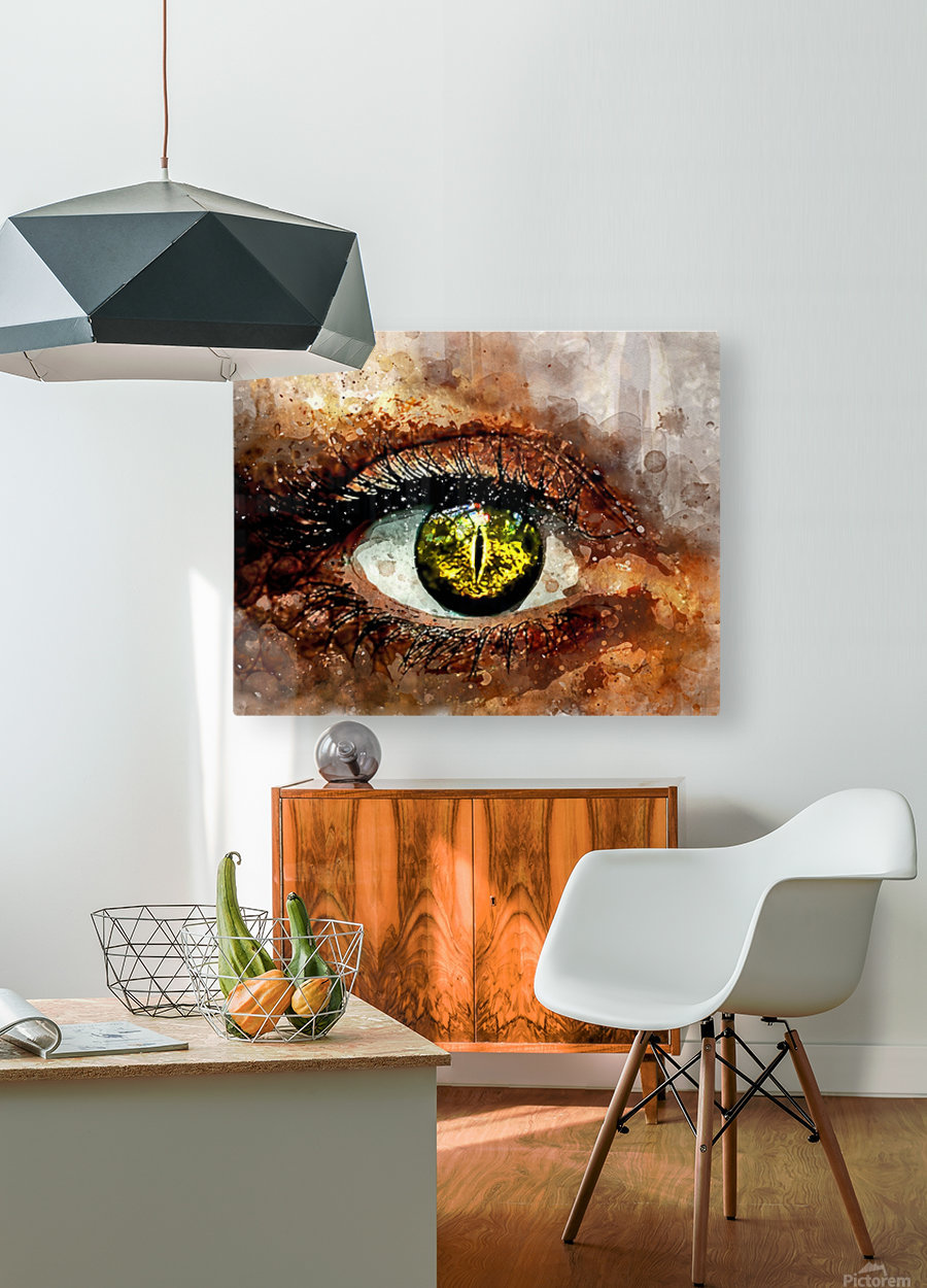 GREEN EYE  HD Metal print with Floating Frame on Back