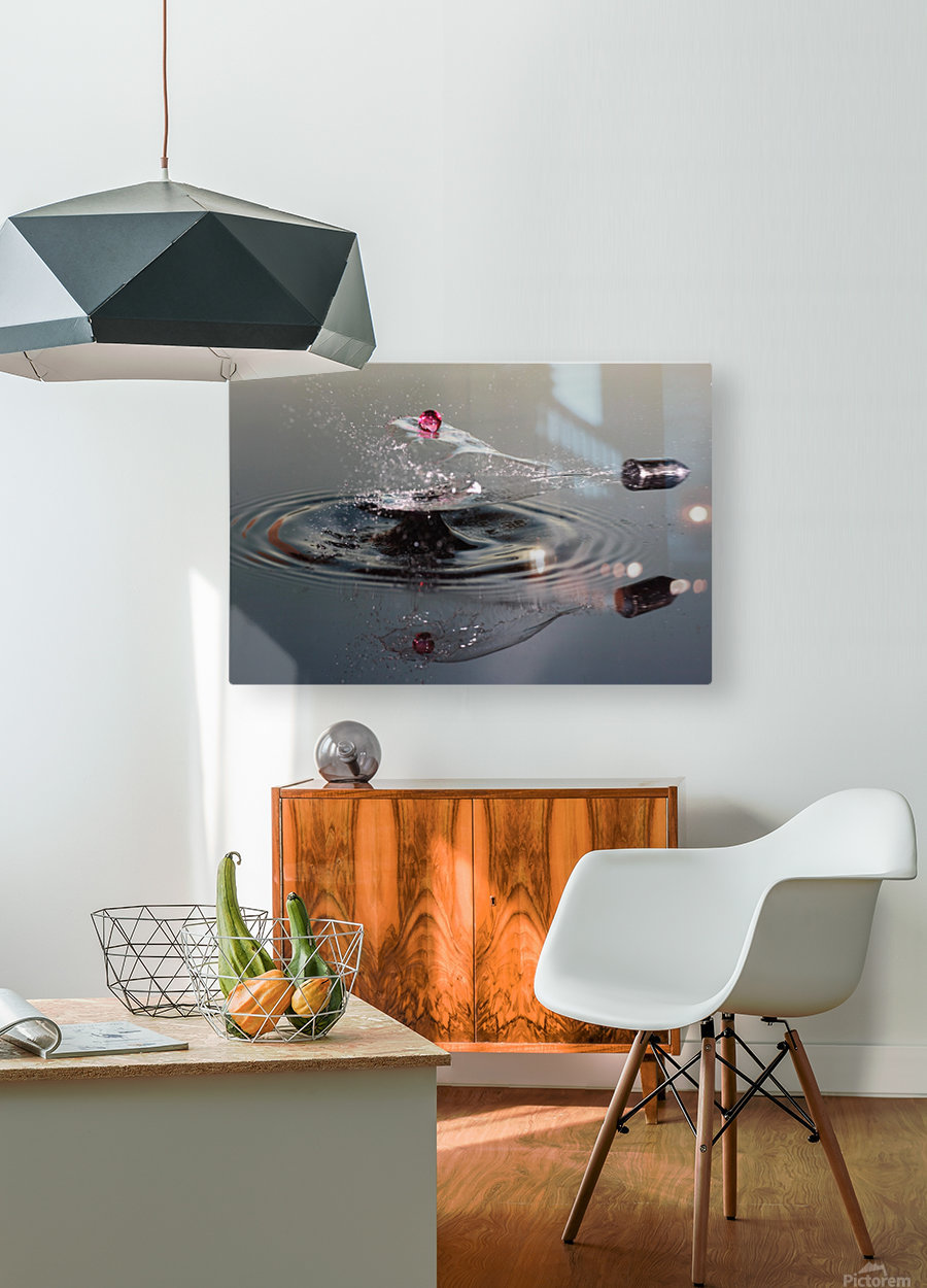 Shot of a drop shot  HD Metal print with Floating Frame on Back