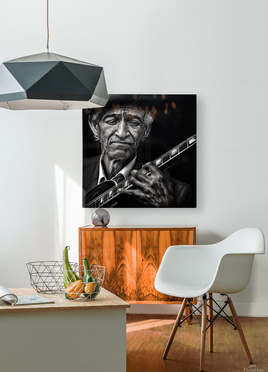 the guitarist  HD Metal print with Floating Frame on Back