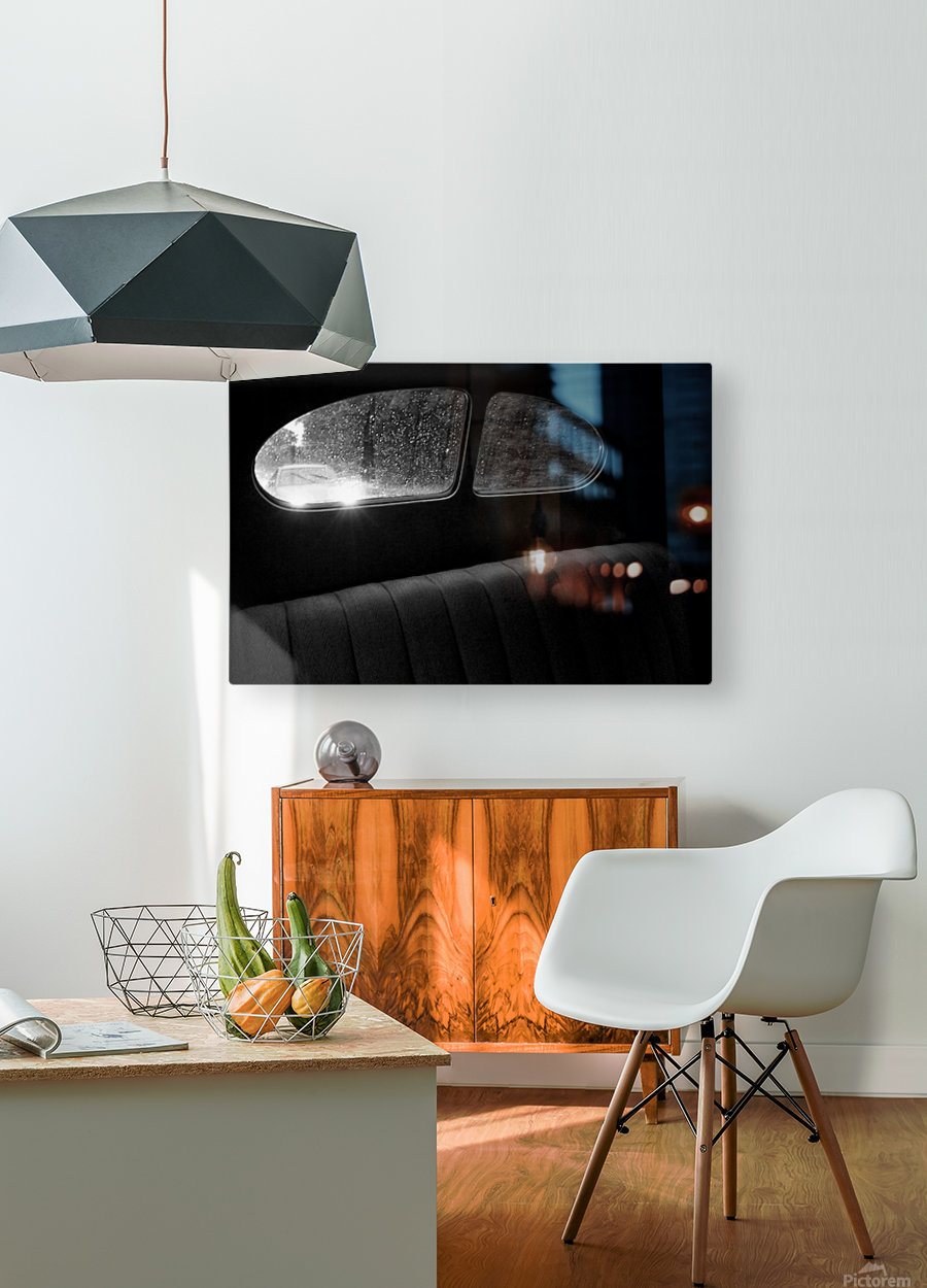 Coming from behind.  HD Metal print with Floating Frame on Back