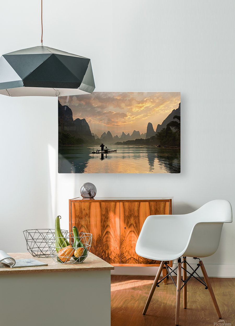 Golden Li River  HD Metal print with Floating Frame on Back