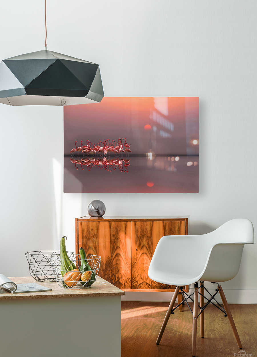 purple sunset  HD Metal print with Floating Frame on Back