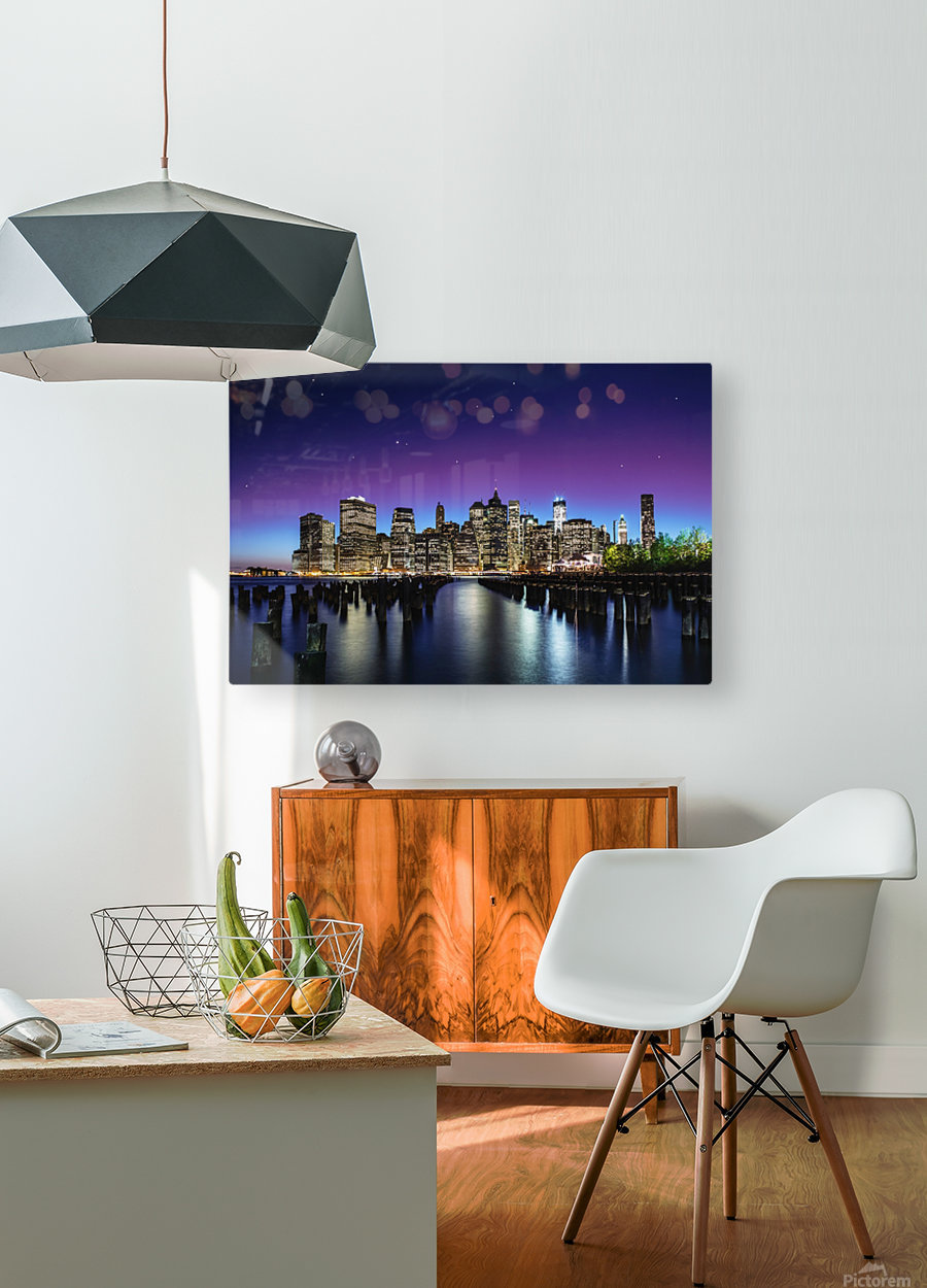 New York Sky Line  HD Metal print with Floating Frame on Back