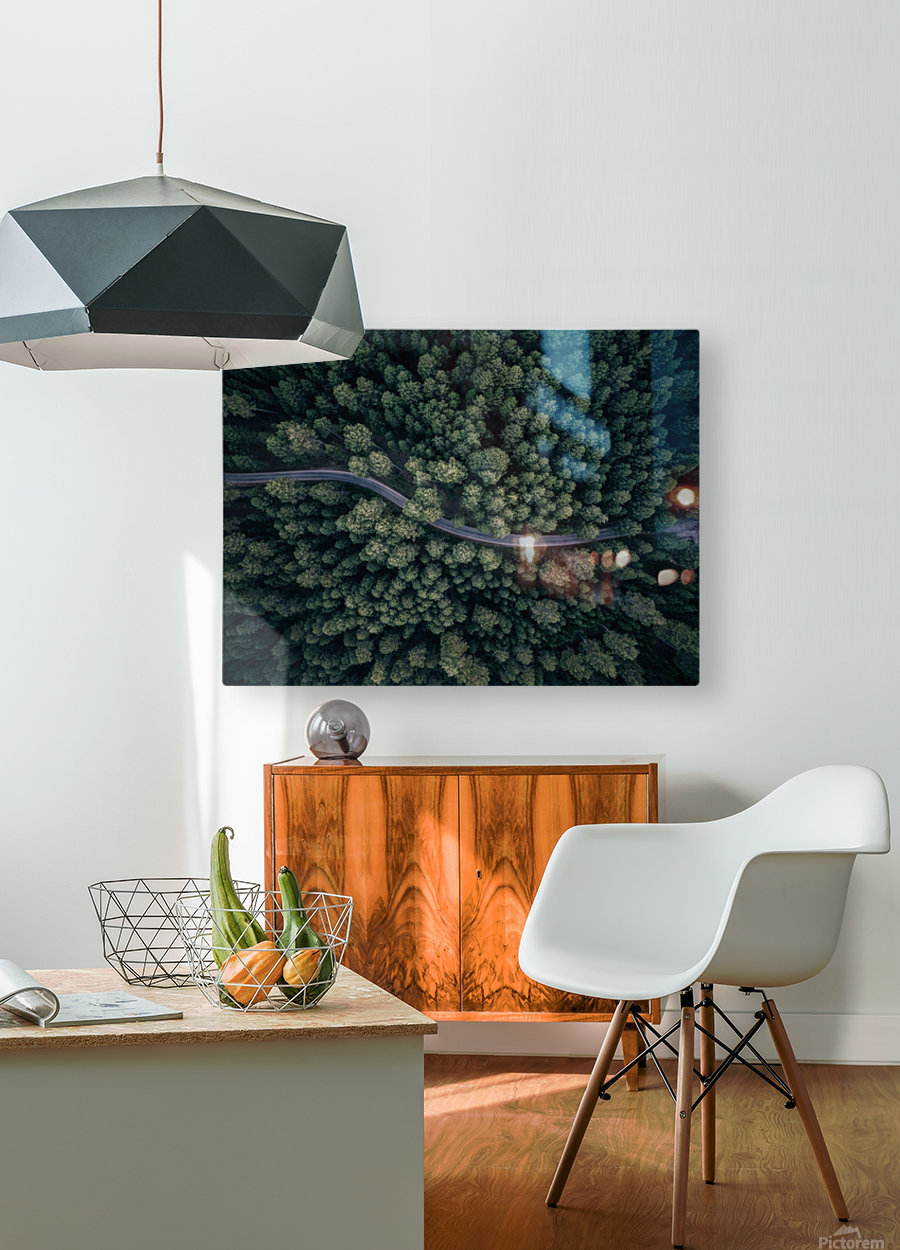 From above  HD Metal print with Floating Frame on Back