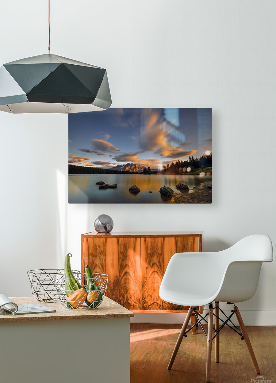 Two Jack Lake Sunset  HD Metal print with Floating Frame on Back