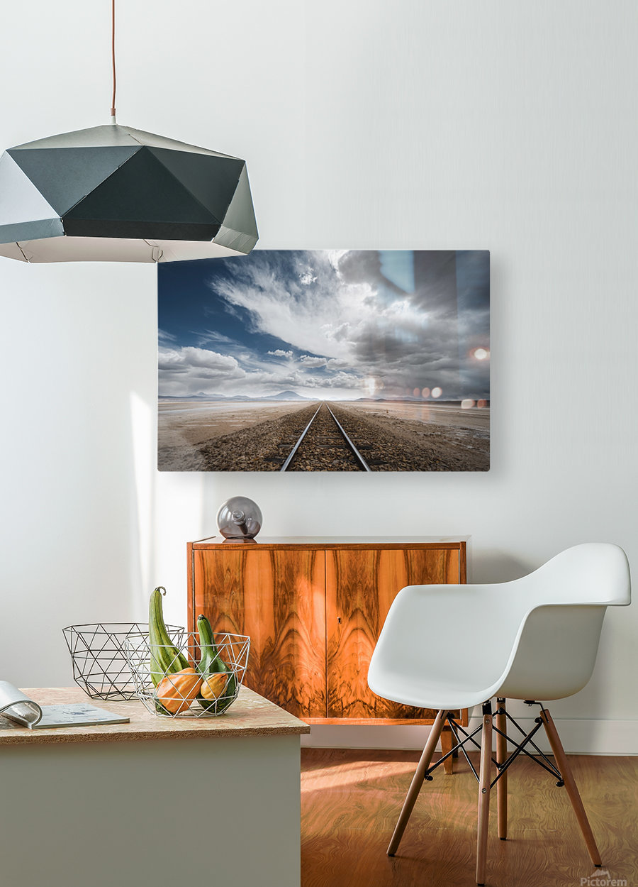 the long road  HD Metal print with Floating Frame on Back