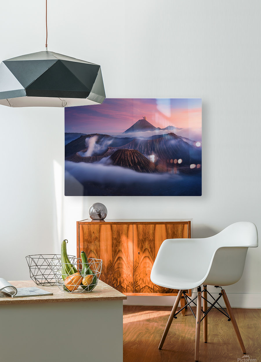 Bromo vs Semeru.  HD Metal print with Floating Frame on Back