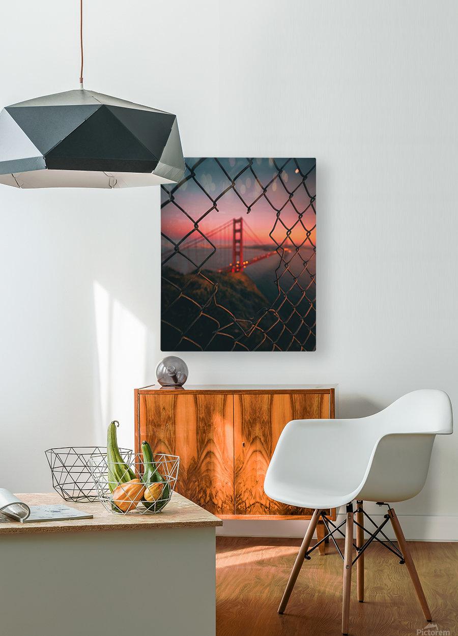 Golden Gate Caged  HD Metal print with Floating Frame on Back