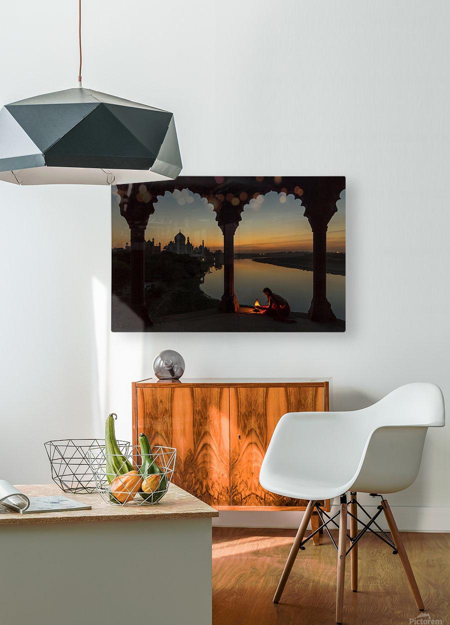 Illuminating the Taj  HD Metal print with Floating Frame on Back