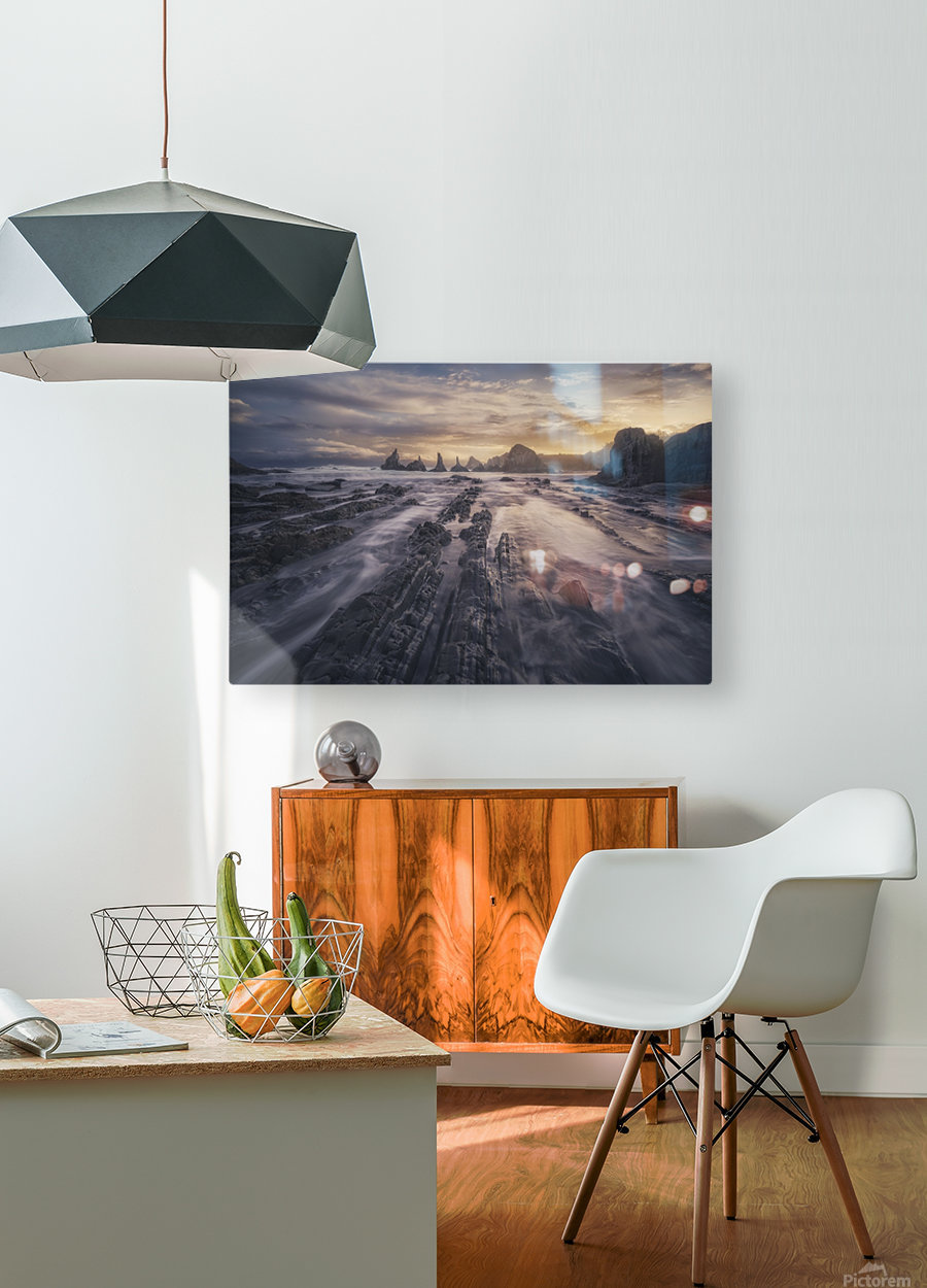 Gueirua lights  HD Metal print with Floating Frame on Back