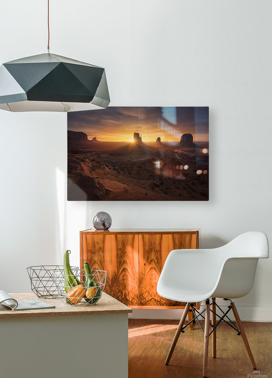 Monument Sunrise.  HD Metal print with Floating Frame on Back