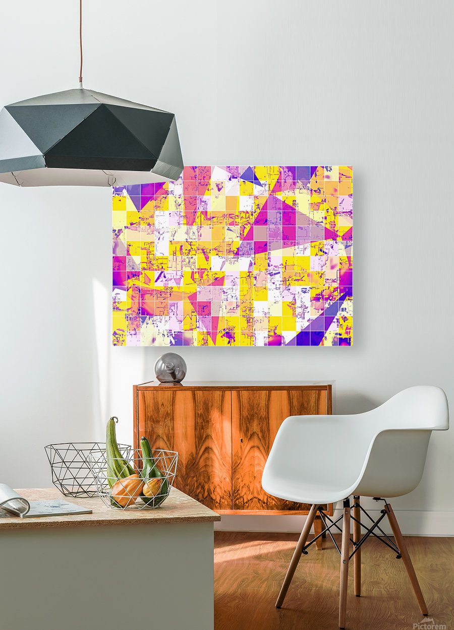 geometric square and triangle pattern abstract in pink yellow blue  HD Metal print with Floating Frame on Back