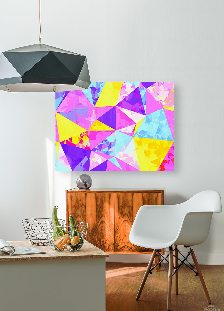 geometric triangle polygon pattern abstract in pink purple blue yellow  HD Metal print with Floating Frame on Back
