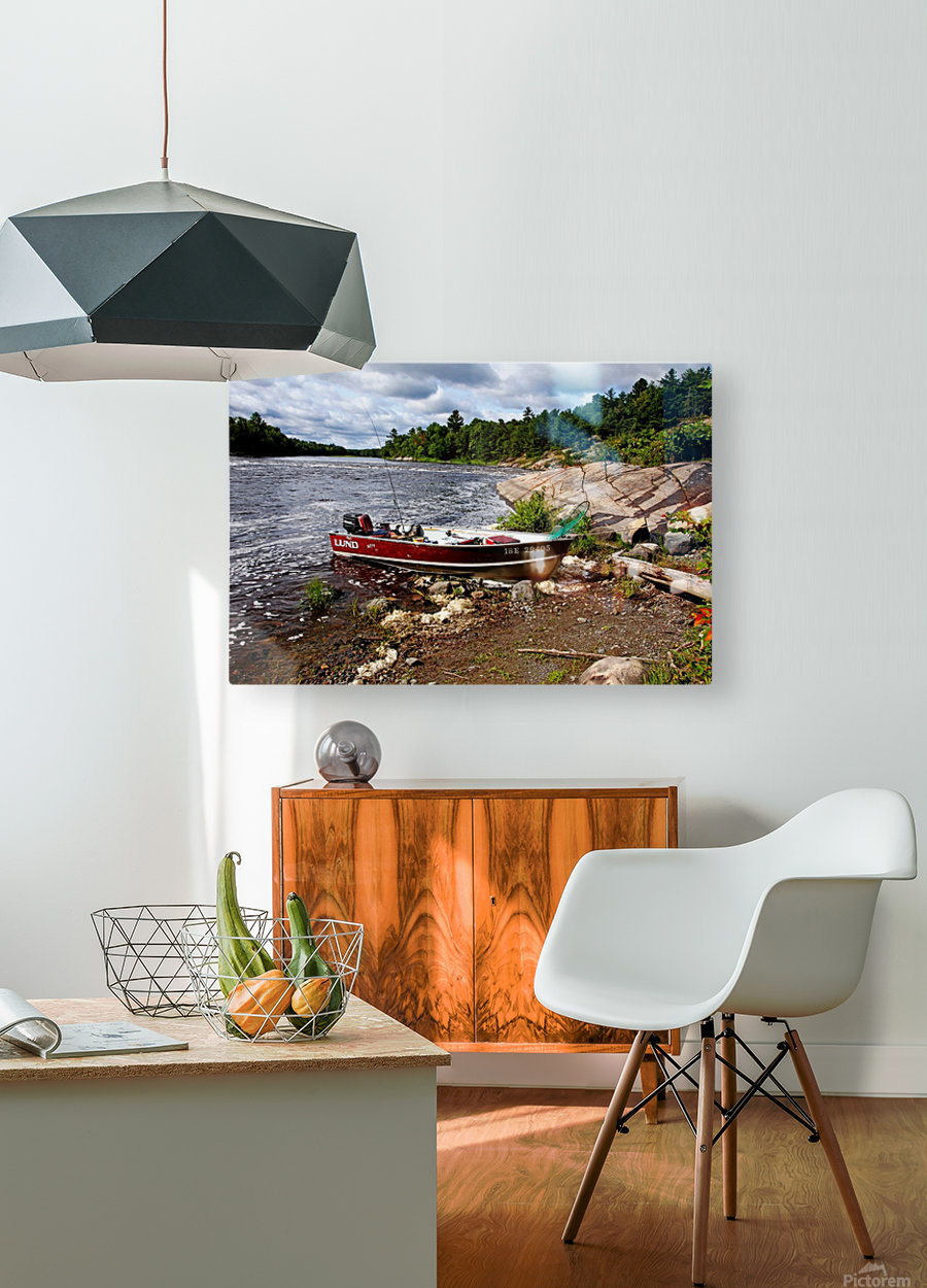 Fishing And Exploring  HD Metal print with Floating Frame on Back