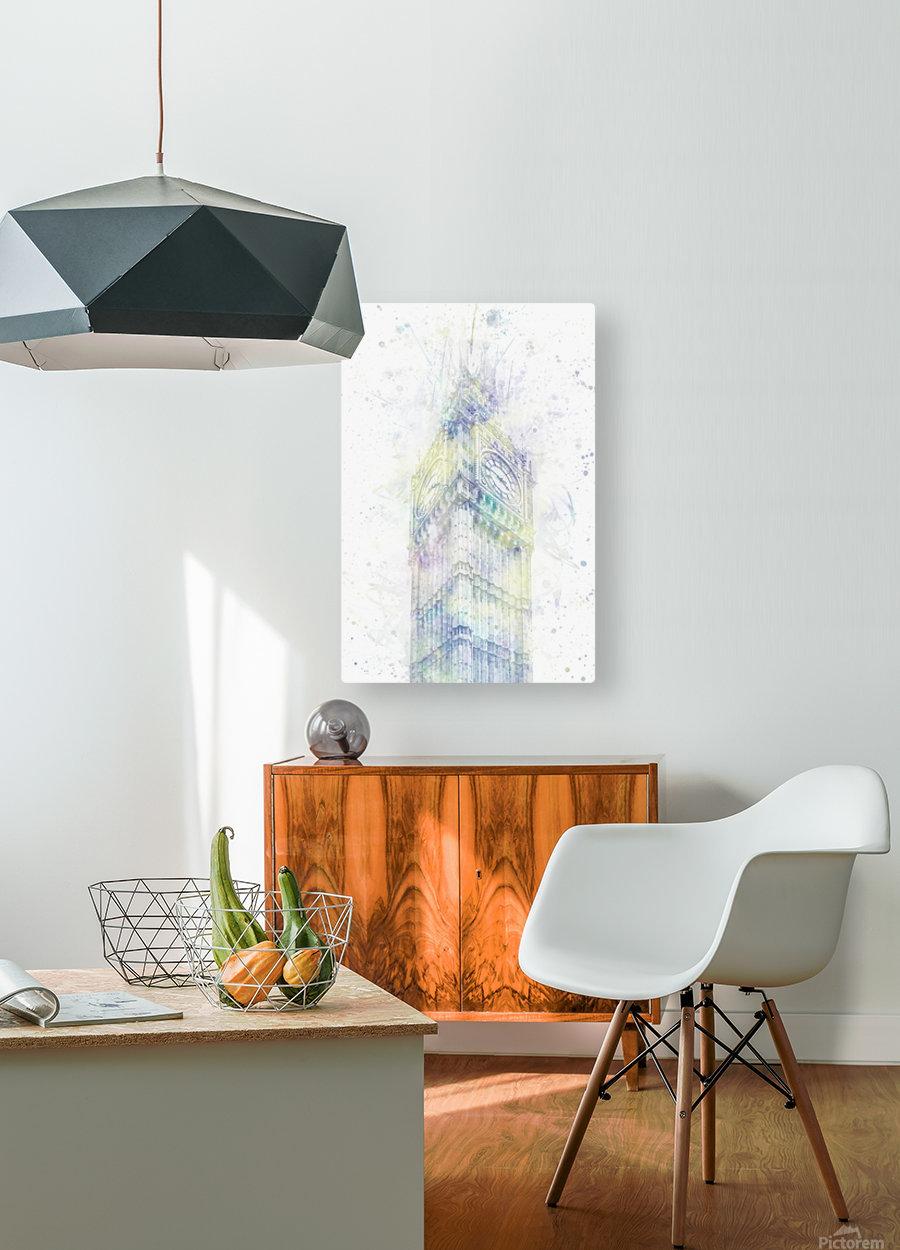 Modern Art BIG BEN | watercolor   HD Metal print with Floating Frame on Back