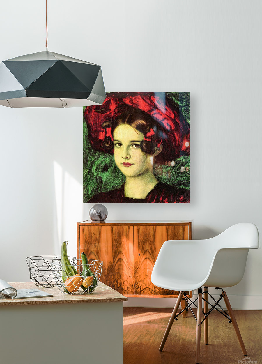 Mary with red hat by Franz von Stuck  HD Metal print with Floating Frame on Back