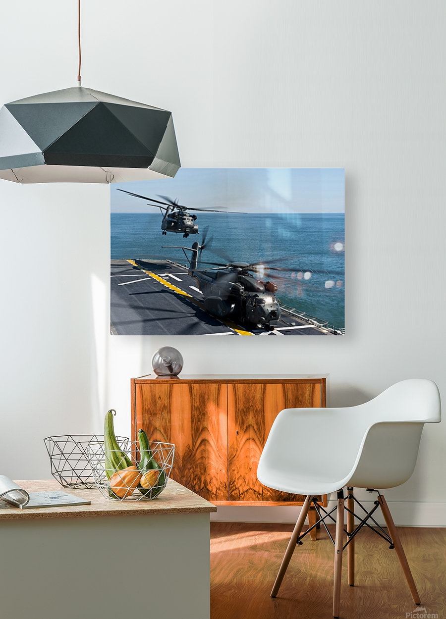 MH-53E Sea Dragon helicopters take off from the flight deck of USS Wasp.  HD Metal print with Floating Frame on Back