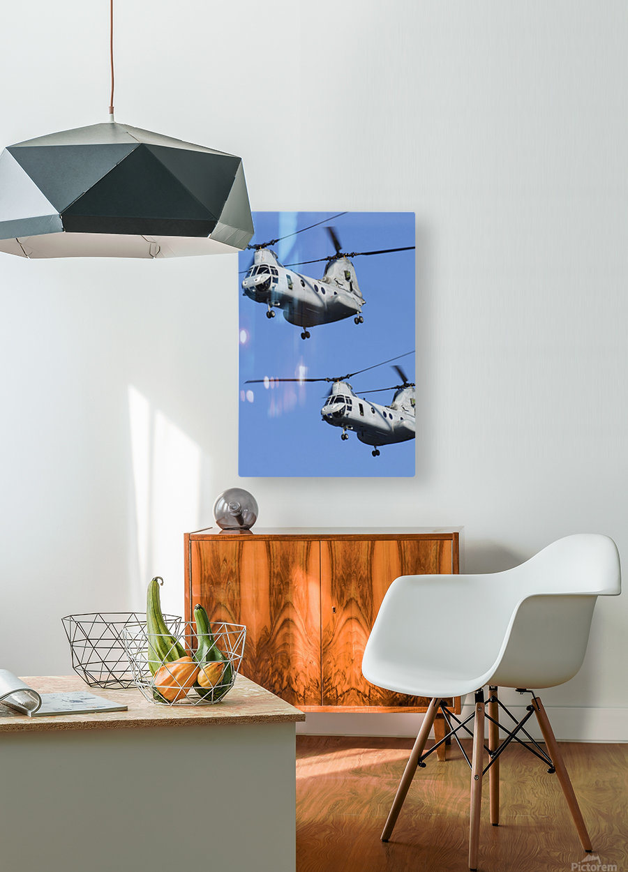 Two U.S. Marine Corps CH-46E Sea Knight helicopters in flight.  HD Metal print with Floating Frame on Back